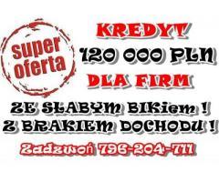 KREDYT DLA FIRM 120 000 PLN DLA KLIENTÓW ZE SŁABSZYM BIK-iem!